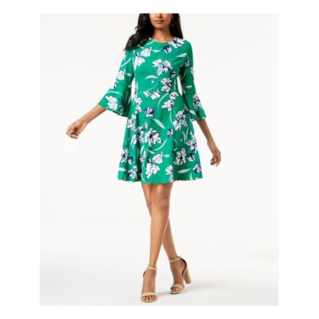 JESSICA HOWARD Womens Green Printed Bell Sleeve Jewel Neck Above The Knee Fit + Flare Dress  Size: