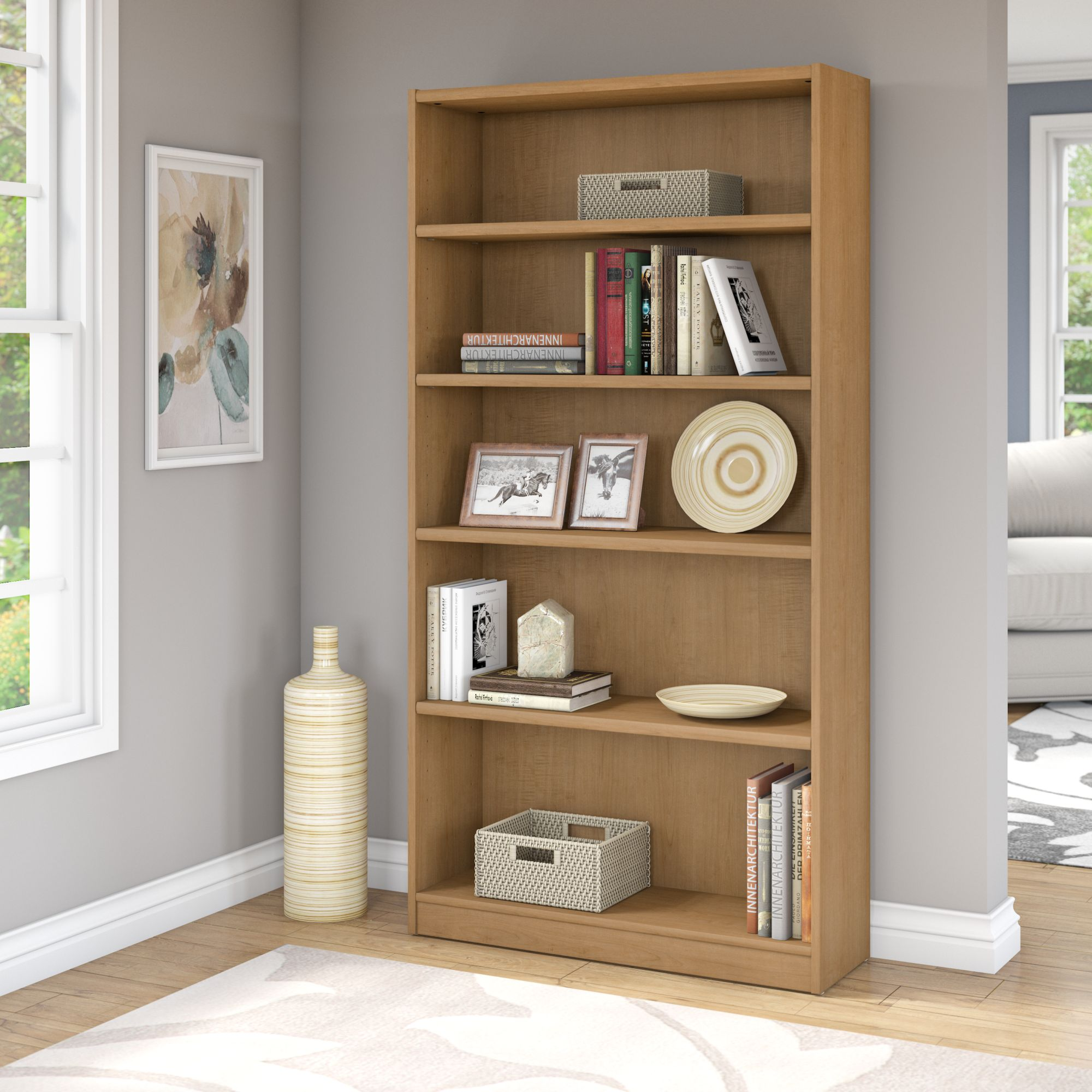 Bush Universal 5-Shelf standard Bookcase, Multiple Finishes