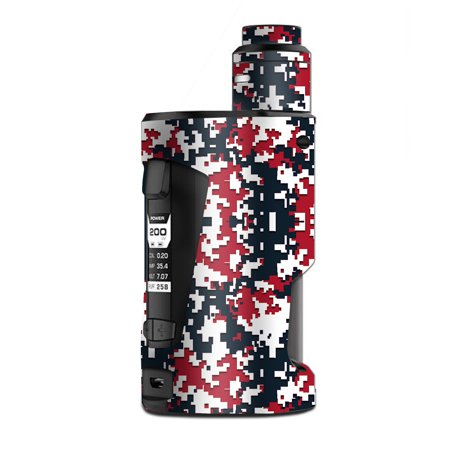 - Skin Decal Vinyl Wrap for Geekvape GBox Squonk Kit 200W Vape Kit skins stickers cover / Digi Camo Sports Teams Colors digital camouflage Red Blue