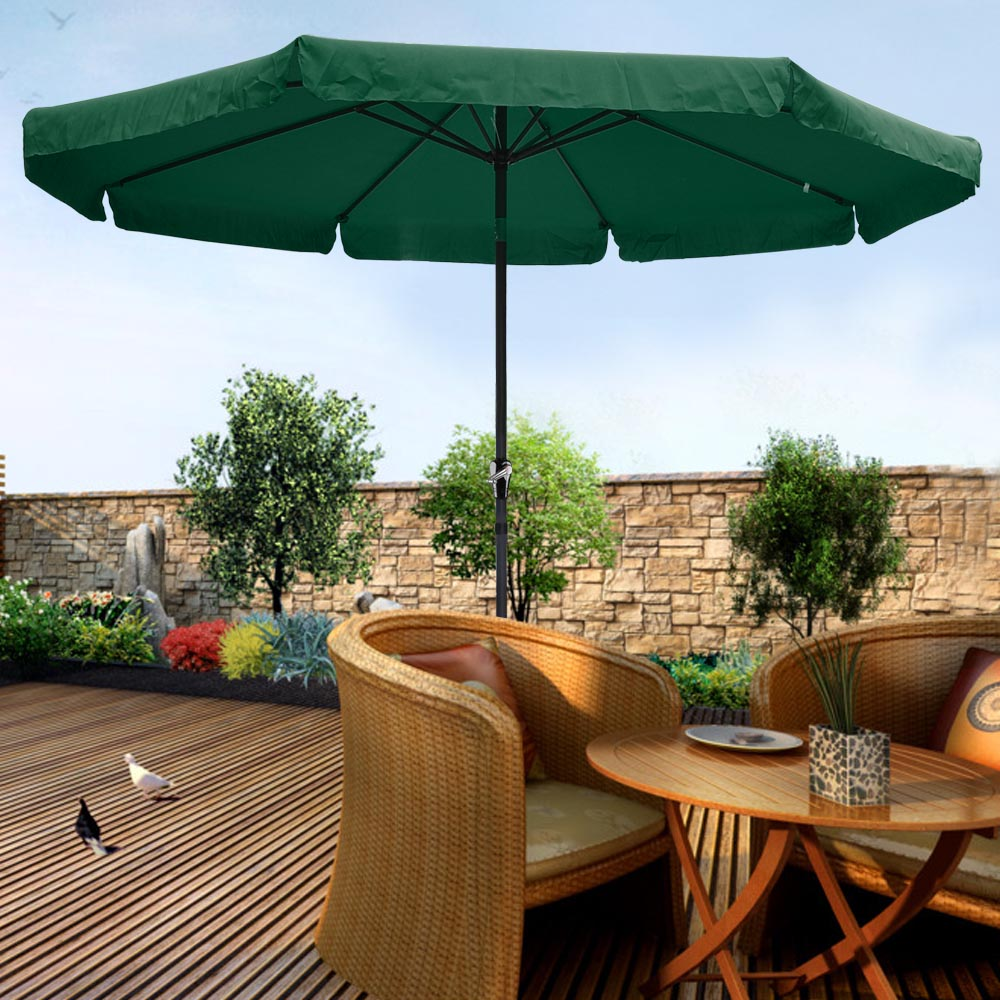 10'Aluminum Crank Tilt Market Umbrella Outdoor Beach Pool Cafe Chocolate