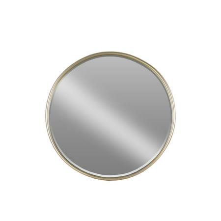 Round Mirror with Tubular Frame and Window Box- Small- Beige- Benzara
