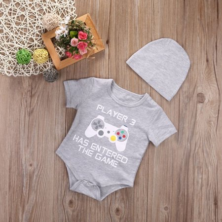 Cute Infant Newborn Baby Boy Girl Romper+Hat Bodysuit Jumpsuit Clothes Outfits 0-24Months - image 2 of 5