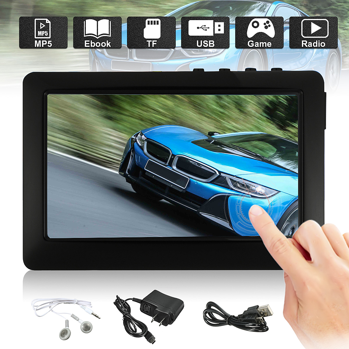 4.3'' Touch Screen TF Card Support Max 32GB MP3 MP4 MP5 Player with TV OUT, FM Radio, Video Recorder , Play Game