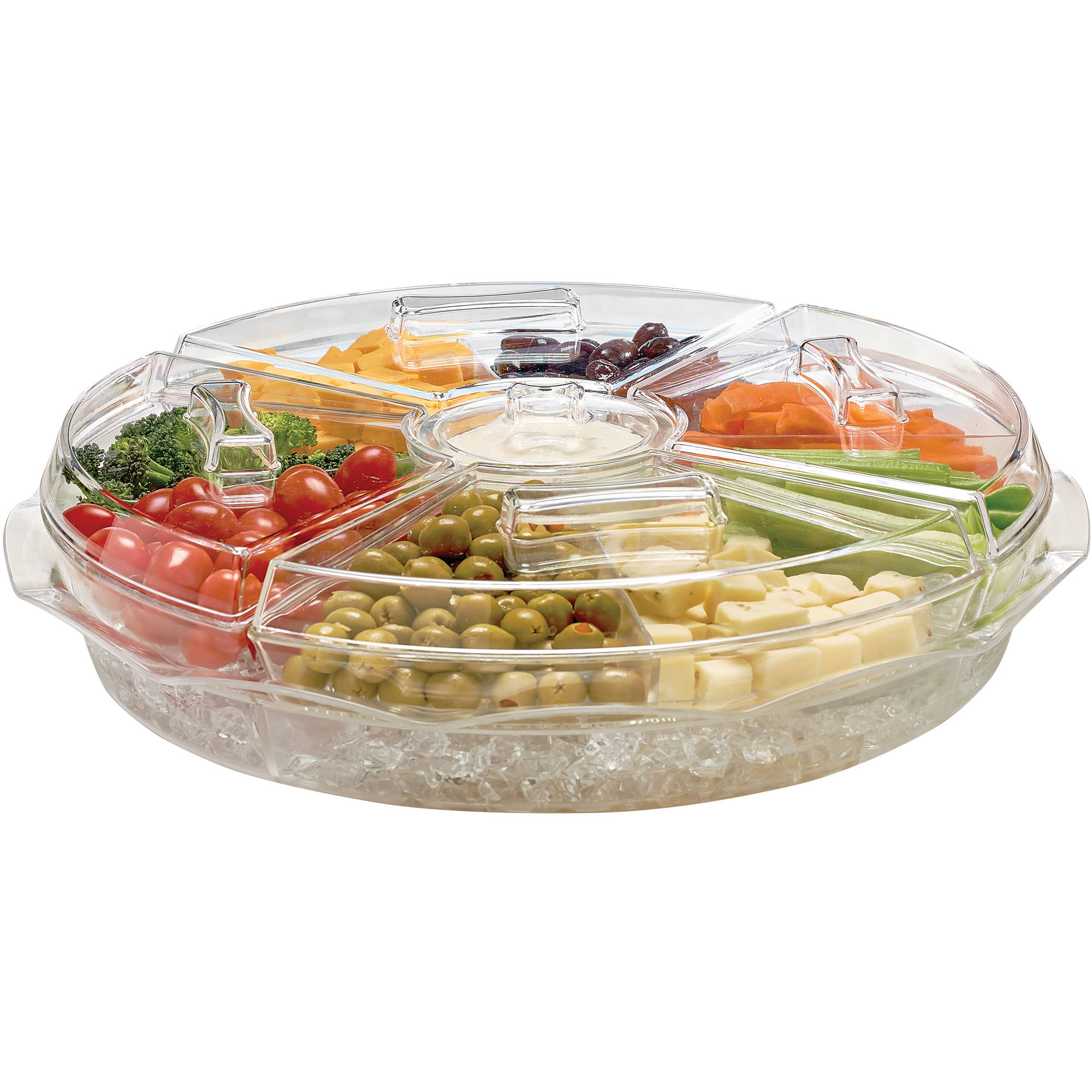 Kitchen Details 8-Section Ice Chilled Appetizer Platter Tray - Walmart.com