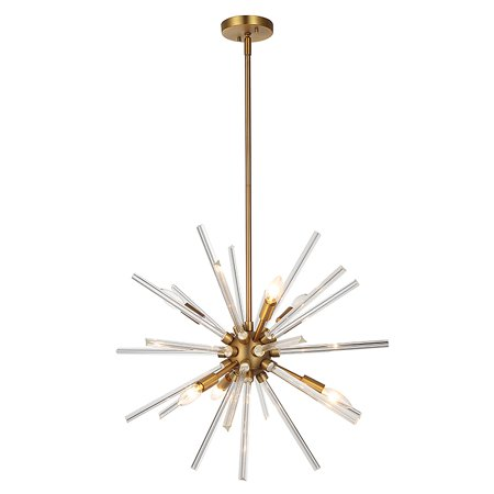 Zara 6-Light Antique Bronze LED Chandelier with Clear Glass Rods