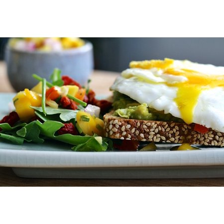 canvas print sunny side up sandwich eggs open faced fried salad stretched canvas 10 x