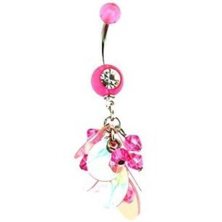Body Accentz Belly Button Ring Navel Beaded Body Jewelry Dangle 14 Gauge