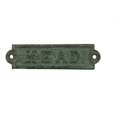 "Antique Bronze Cast Iron Head Sign 6""- Metal Wall Plaque - Cast Iron Door Sign - Decorative Metal Wall Art"