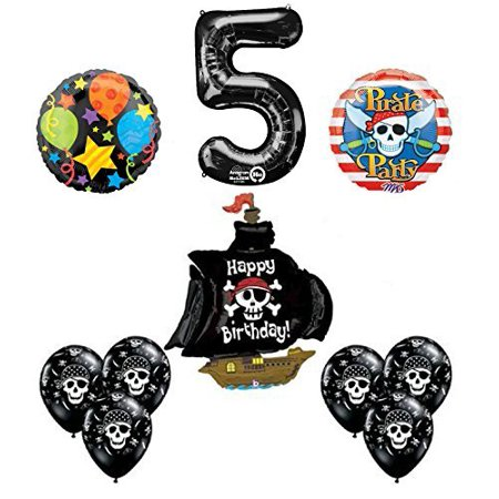 Black Pirate Ship 5th Birthday Party Supplies and Balloon Decorations - Pirate Balloons