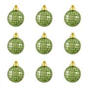 "9ct Green Mirrored Glass Disco Ball Christmas Ornaments 1.5"" (40mm)"