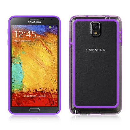 Clear TPU Bumper Case with Purple Trim Border for Samsung Galaxy Note 3