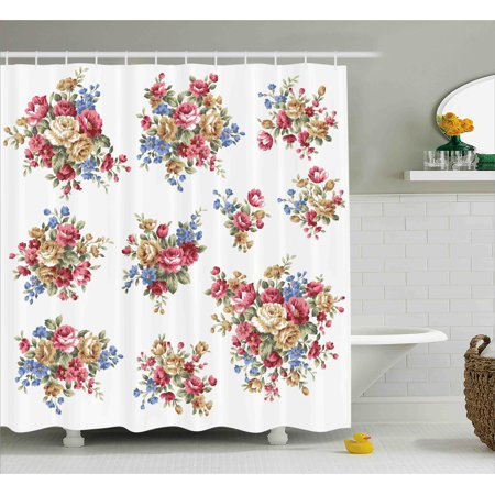 Floral Shower Curtain, Vintage Rose Flower Bouquets Romance Love Wedding Themed Nostalgic Image , Fabric Bathroom Set with Hooks, 69W X 84L Inches Extra Long, Dark Coral Blue Tan, by Ambesonne