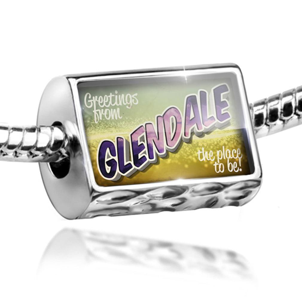 Bead Greetings from Glendale, Vintage Postcard Charm Fits All European Bracelets