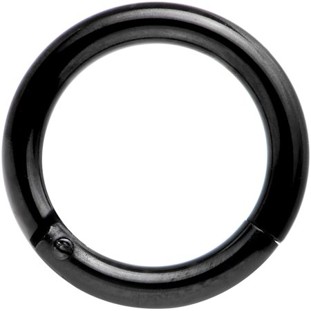 Body Candy Black Anodized Stainless Steel Hinged Segment Ring Circular Barbell 14 Gauge 5/16""