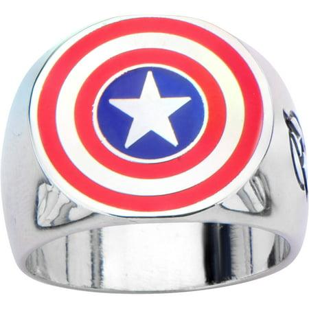 Men's Stainless Steel Captain America Shield Logo Ring](Avengers Rings)