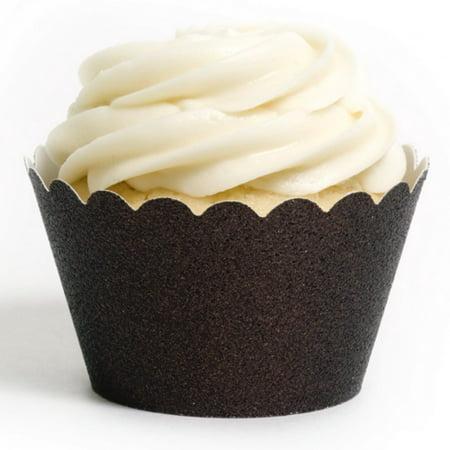 Dress My Cupcake Espresso Brown Glitter Mini Cupcake Wrappers, Set of 18