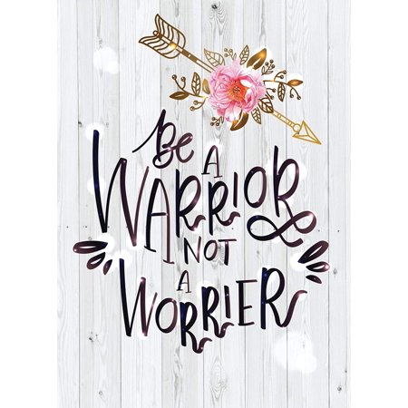 Be A Warrior Not A Worrier Motivational Inspirational Wall Decor Home Art Print, Small Signs - 7.5x10.5 ()