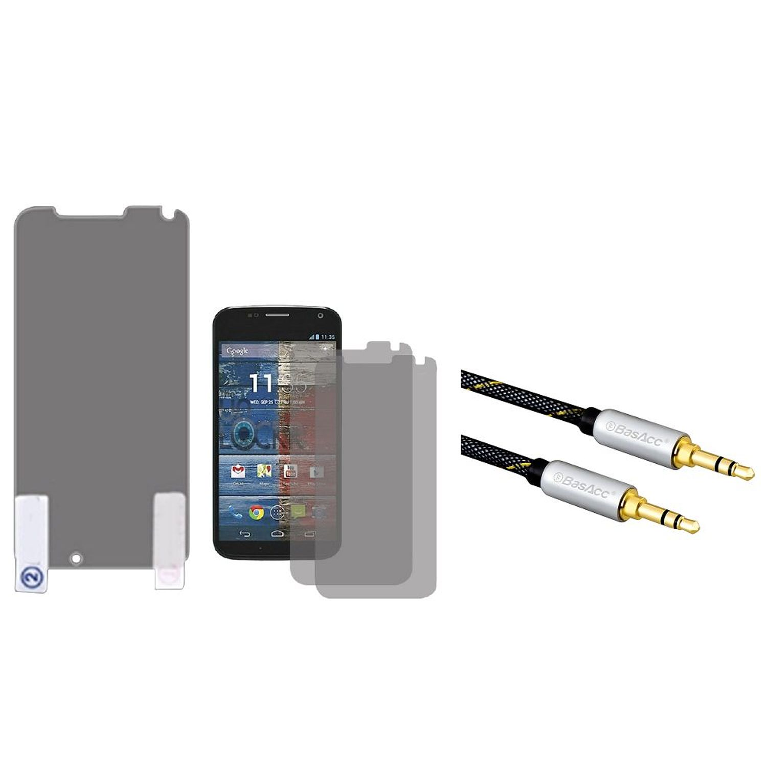 Insten Screen Protector Twin Pack For MOTOROLA X Phone (+3.5mm Aux Auxiliary Audio Stereo Extension M/M Cable)