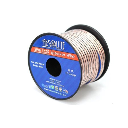 Absolute USA SWH1225 12 Gauge Car Home Audio Speaker Wire Cable Spool