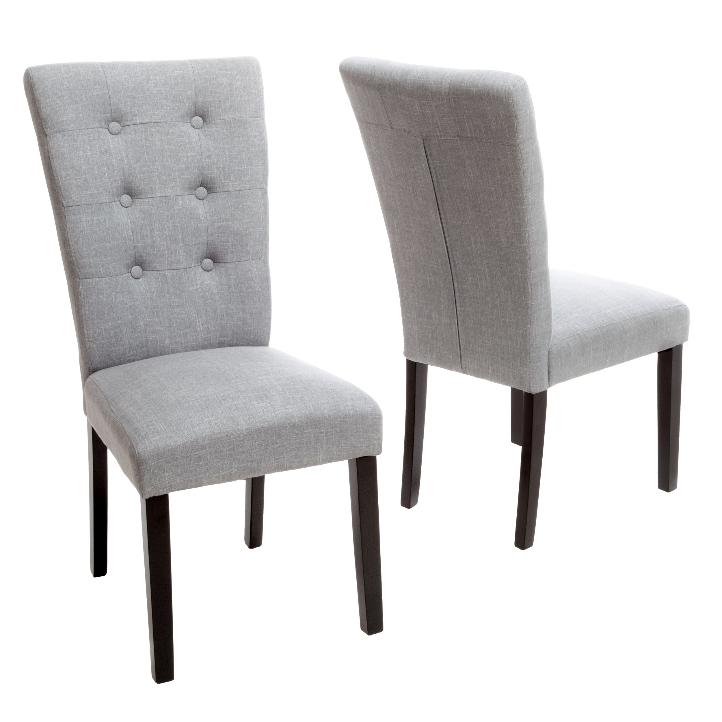 Noble House Jolie Grey Fabric Dining Chair, Set of 2