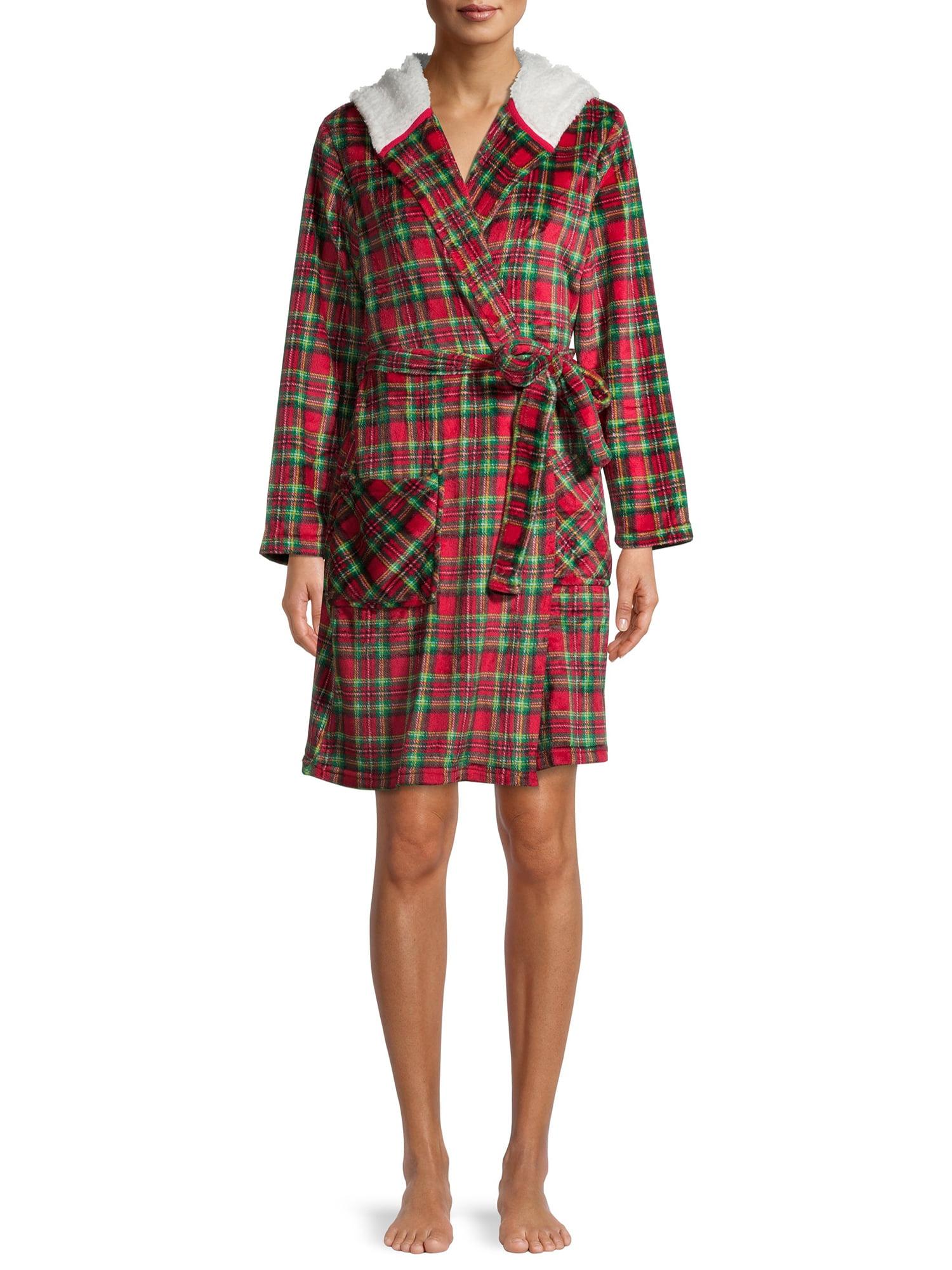 Derek Heart - Matching Family Christmas Pajamas Women's Hooded Tartan Robe with Faux Sherpa Lining - Walmart.com