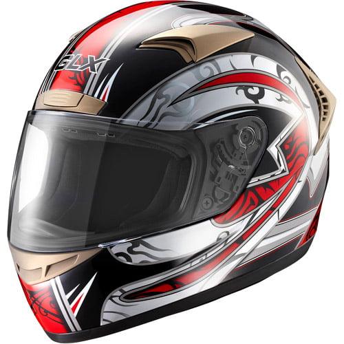 GLX DOT Tribal Full Face Motorcycle Helmet, Red, S
