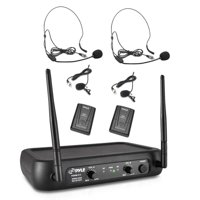 Pyle PDWM2145 - Wireless Microphone System, VHF Fixed Frequency with Adjustable Volume Control, Includes (2) Body-Pack Transmitters, (2) Lavalier Mics, (2) Headset Mics