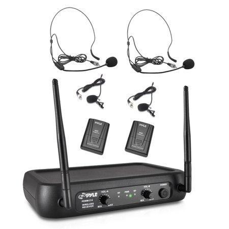 - Pyle PDWM2145 - Wireless Microphone System, VHF Fixed Frequency with Adjustable Volume Control, Includes (2) Body-Pack Transmitters, (2) Lavalier Mics, (2) Headset Mics