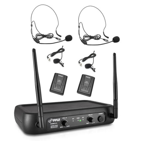 Pyle PDWM2145 - Wireless Microphone System, VHF Fixed Frequency with Adjustable Volume Control, Includes (2) Body-Pack Transmitters, (2) Lavalier Mics, (2) Headset