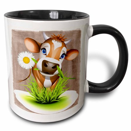 3dRose Jersey Cow in Grass - Two Tone Black Mug, 11-ounce - Cow Print Cups