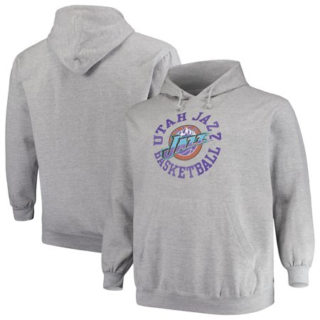 new style d6c5c 6070a Utah Jazz Mitchell & Ness Big & Tall Throwback Logo Pullover Hoodie -  Heathered Gray