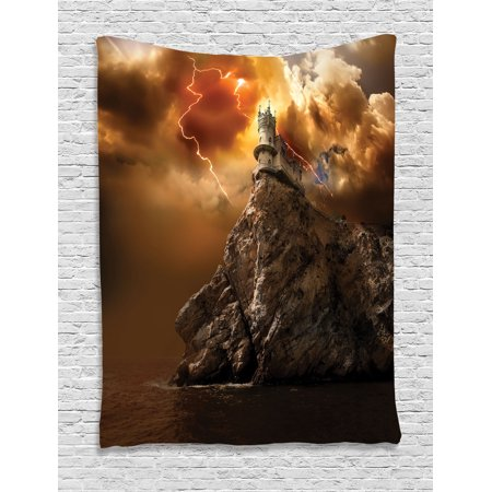 Lake House Decor Wall Hanging Tapestry, Fantasy Castle On Top Of The Cliff With Lightning Supernatural Place Fiction Print, Bedroom Living Room Dorm Accessories, By -