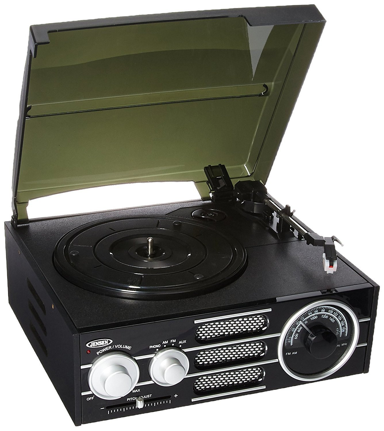 Turntable, Black Jensen Portable 3-speed Record Player Usb Stereo Turntable