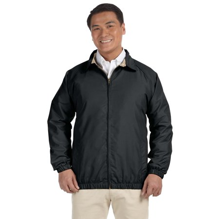 Branded Harriton Adult Microfiber Club Jacket - BLACK/ STONE - S (Instant Saving 5% & more on min (Back To The Future 2 Jacket For Sale)