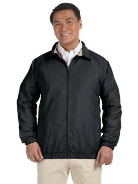 Branded Harriton Adult Microfiber Club Jacket - BLACK/ STONE - S (Instant Saving 5% & more on min 2)