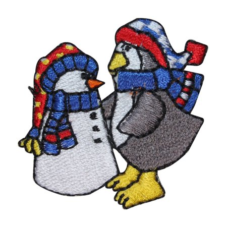 ID 8226B Penguin Build Snowman Patch Snow Day Fun Embroidered Iron On Applique](Build Snowman)