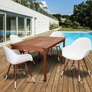 Amazonia Eucalyptus Wood Dining Set with 4 Chamonix Chairs