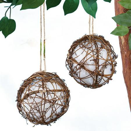 Set of 2 Rattan Globe Hummingbird Nesters - Gives Birds the Materials to Build a Nest Nearby (Pumpkin Nester)