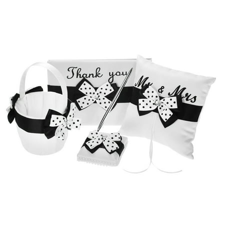 4pcs/set Wedding Supplies Satin Flower Girl Basket + Ring Bearer Pillow + Guest Book + Pen Holder Set with White Black Bowknot Decorated Basket Pillow Guest Book Box