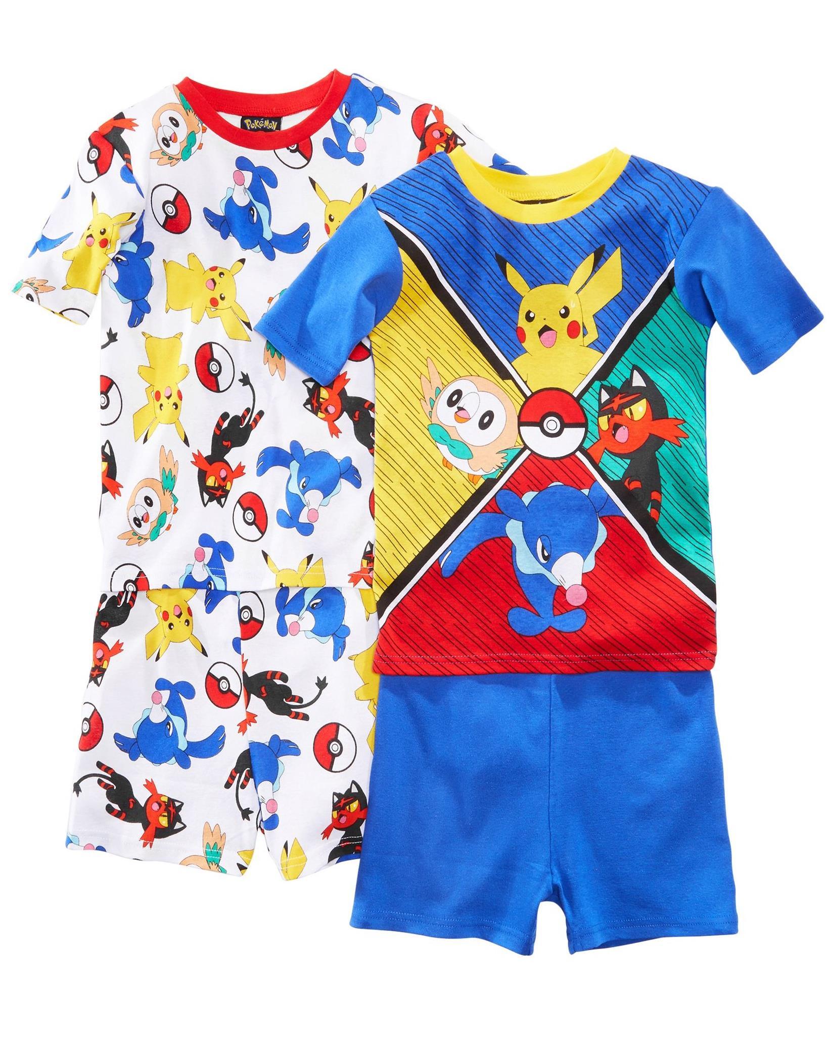 Pokemon Characters Little Boys' Pikachu 4-Piece Cotton Pajama Set, Pokemon Characters, Size: 6