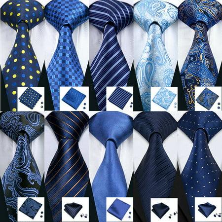 Floral Striped Tie - USA Blue Silk Tie Set Striped Checks Paisley 50 Styles Woven Necktie Lot Wedding - C-5032 - Striped