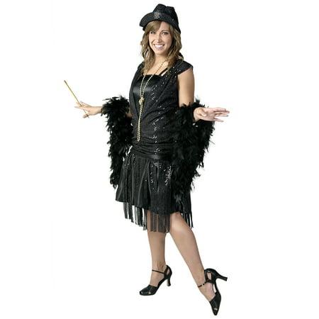 Plus Size Black Jazz Flapper - Plus Size Flapper Costume 3x