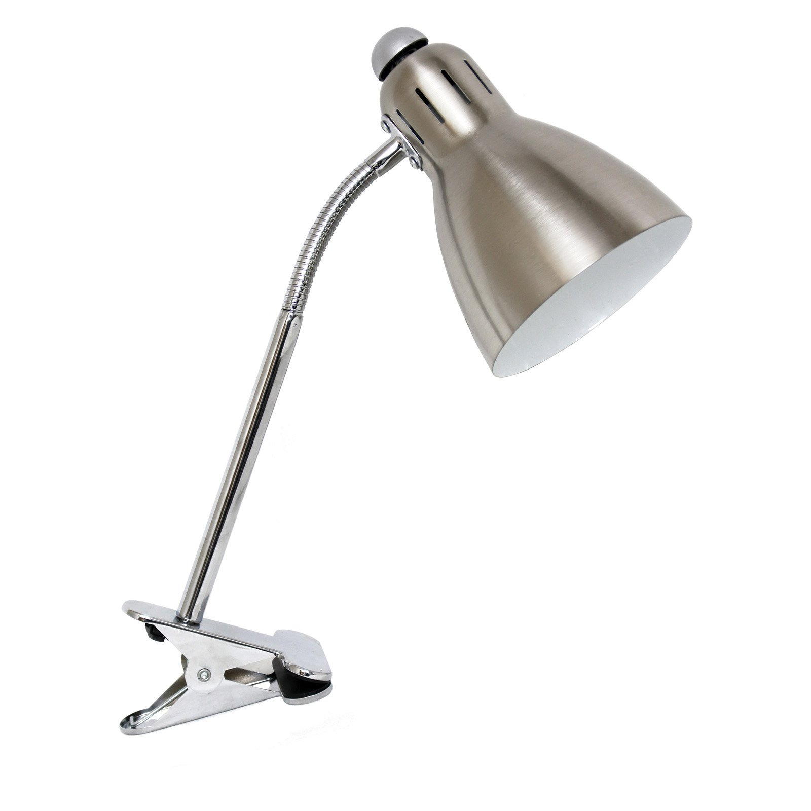Simple Designs Adjustable Clip Light Desk Lamp, Brushed Nickel by All the Rages Inc