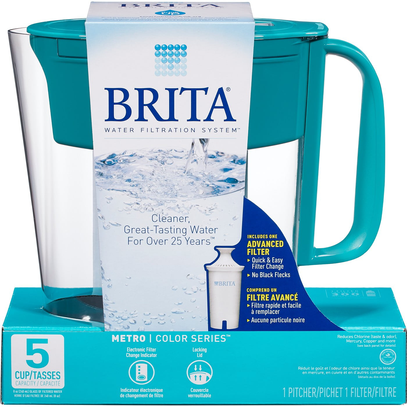 Brita Metro 5-Cup Water Filtration Pitcher - Turquoise