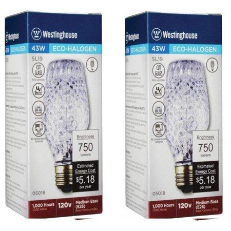 Westinghouse 43W SL19 Halogen Cut Glass Light Bulb with Medium Base (2 Pack), Cut glass, halogen, medium base, 43 watts, 120 volt By Westinghouse Lighting