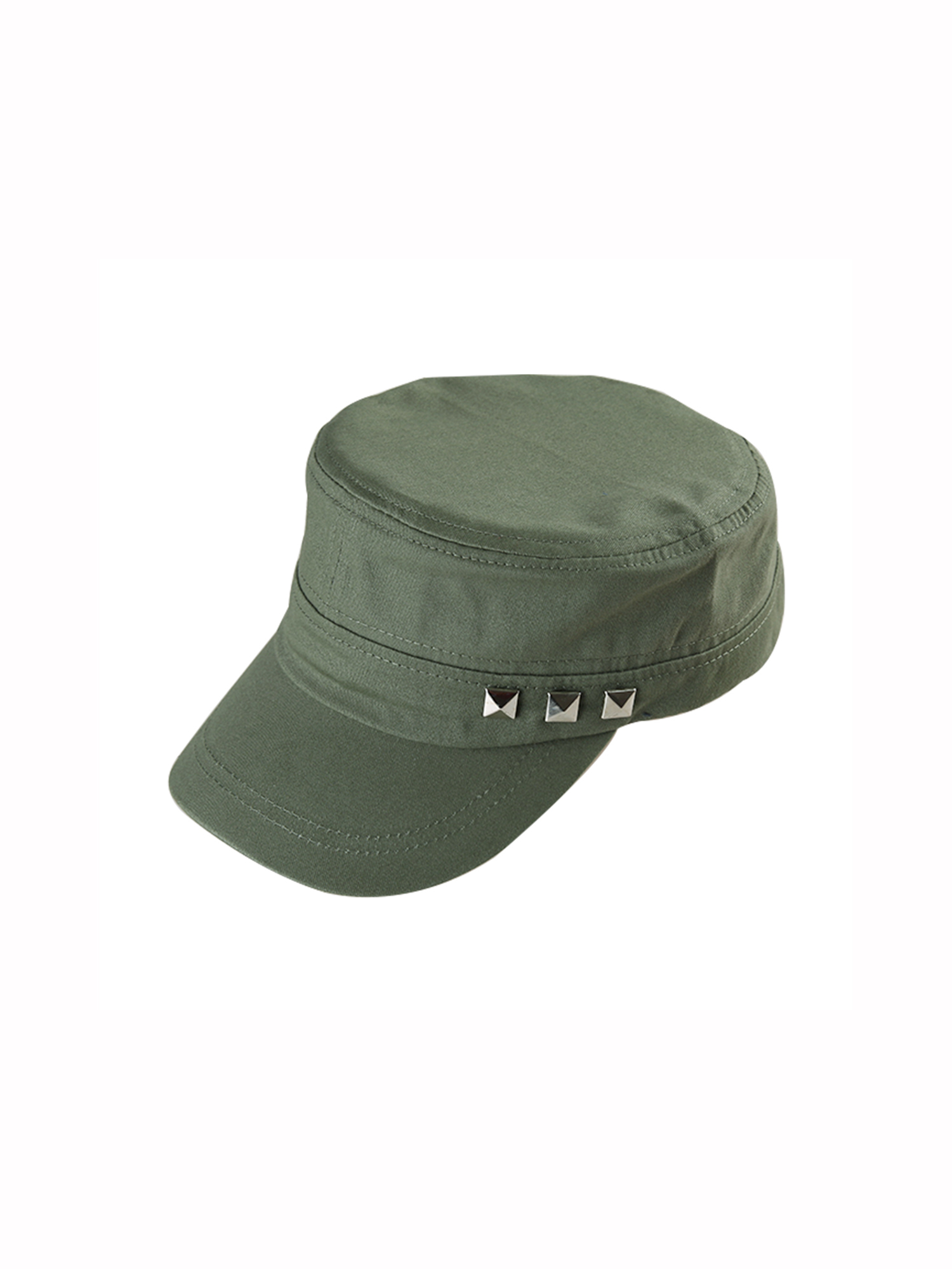 962aaa021ed Unique Bargains Unisex s Vintage Flat Top Peaked Cotton Baseball Adjustable  Cadet Cap Army Green