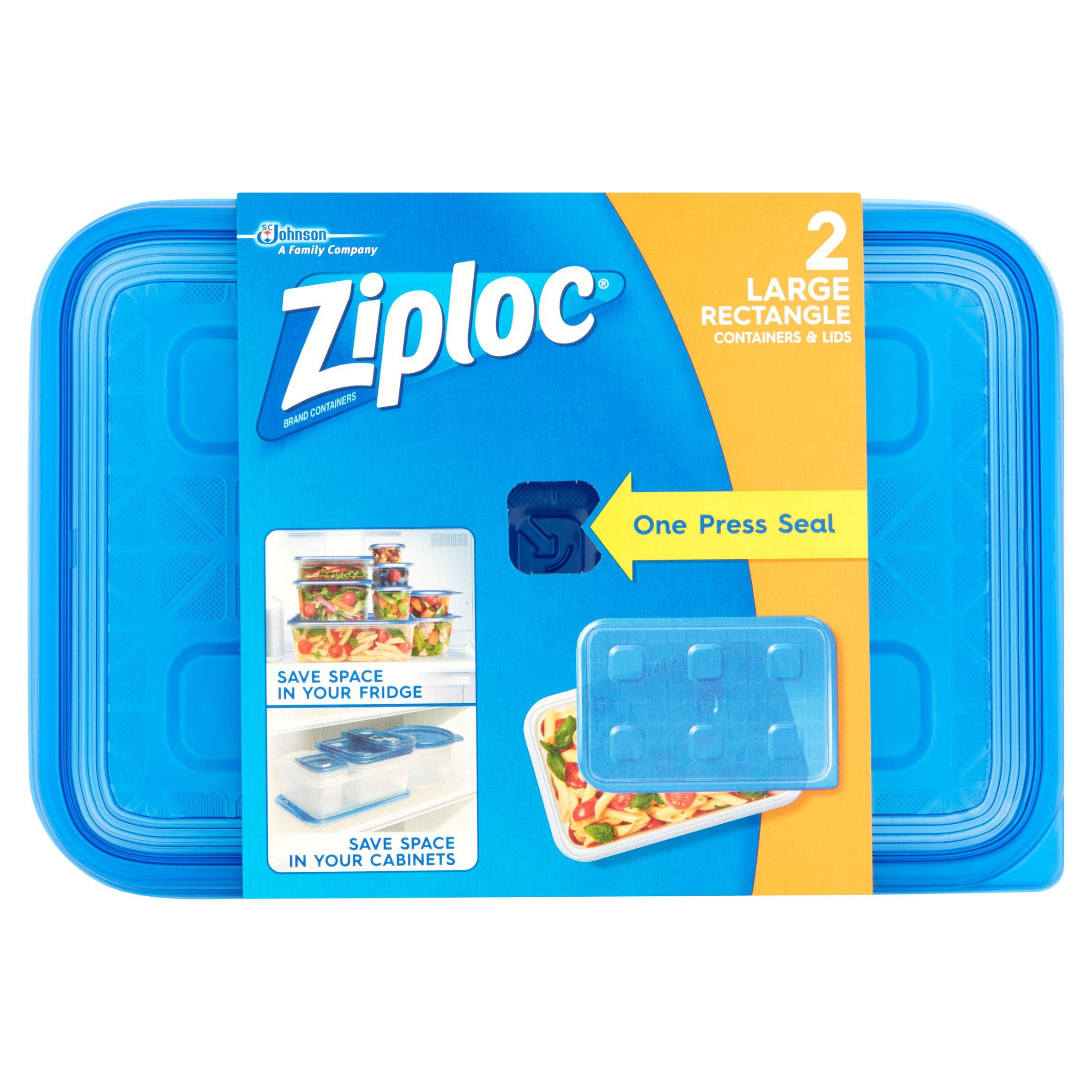 SC Johnson Ziploc 2.25 qt Large Rectangle Container & Lids, 2 count