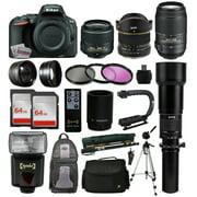 Nikon D5500 DSLR Digital Camera 18-55mm Lens + 6.5mm f/3.5 Fisheye Lens + 55-300mm VR Lens + Super 650-1300 HD Telephoto Lens + 128GB Memory + Filters + Flash + Backpack + Case + Tripod + Monopod