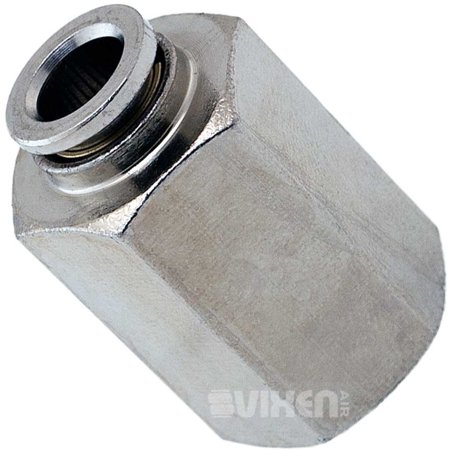"""Vixen Air 1/4"""" NPT Female Push to Connect (PTC) Straight Pneumatic Fitting for 1/4"""" OD Hose VXA7149"""