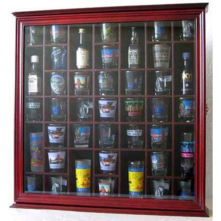 41 Shot Glass Display Case Holder Cabinet Wall Rack With